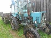 Трактор МТЗ-82+ телега 2 ПТС 4